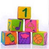 Zachte vierkant blokken | 6 stuks | 7cm x 7cm | Baby speelgoed | Kidzstore.eu