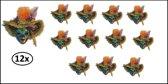 12x Broche venetiaans met hoed en veren
