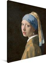 Meisje met de Parel - Schilderij van Johannes Vermeer Canvas 60x80 cm - Foto print op Canvas schilderij (Wanddecoratie woonkamer / slaapkamer)
