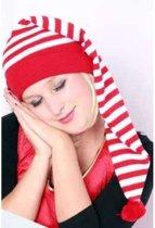 Slaapmuts rood/wit