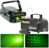 Laser lichteffect met rookmachine - BeamZ lichtset met S500 rookmachine en Apollo rood / groene laser
