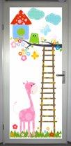 Deurposter 'Uil en giraffe' - deursticker 75x195 cm