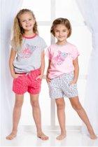 Kinderpyjama Taro Wanesa 2091 licht roze met opdruk en grijze broek - 104