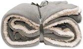 Pluche plaid/deken licht grijs 150 x 200 cm
