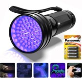ProTools UV Zaklamp - UV Lamp - 51 Ultra Violet LED's - Blacklight - Inclusief 4 Batterijen - Robuuste Aluminium Behuizing - Detector voor Vals geld, Urine & Overige Vlekken