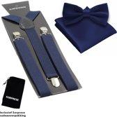 Bretels inclusief vlinderdas en pochette - Donkerblauw - Sorprese - met stevige clip - bretels - vlinderdas – strik – strikje – pochet - luxe - unisex - heren - giftset