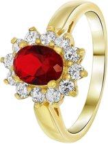 Lucardi - Nouveau Vintage - Goldplated ring ruby met zirkonia