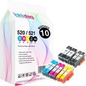 Inktdag inktcartridges voor Canon PGI-520 / CLI-521, multipack van 10 stuks