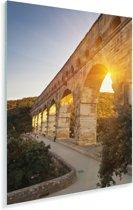 De zon schijnt door de Pont du Gard heen Plexiglas 80x120 cm - Foto print op Glas (Plexiglas wanddecoratie)