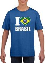 Blauw I love Brazilie supporter shirt kinderen - Braziliaans shirt jongens en meisjes S (122-128)