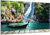 Canvas schilderij Boot | Groen, Blauw | 120x70cm 1Luik