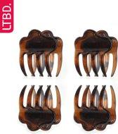 LTBD Haarklem nylon 4 stuks - bruin