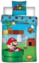 Super Mario Bros - Dekbedovertrek - Eenpersoons - 140x200 cm + 1 kussensloop 65x65 cm - Multi kleur