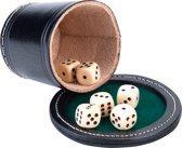 Pokerbeker met deksel, zwrt leder Ø 9cm in verpakking