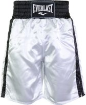 Everlast Pro Boxing Short  Boksbroek - Maat L  - Unisex - wit/zwart
