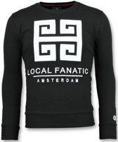 Local Fanatic Greek Border - Leuke Sweater Heren - 6350Z - Zwart - Maten: XL