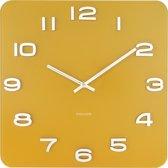 Wall clock Vintage - Saffron Yellow - Square Glass
