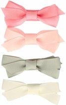 Setje haarspeldjes met strik pastel - Large 5 cm | Roze, Grijs | Baby, Meisje