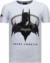 Local Fanatic Badman - Rhinestone T-shirt - Wit - Maten: M