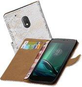 Motorola Moto G4 Play Hoesje voor Bloem Bookstyle Wit