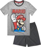 Super Mario Bros Pyjama met korte mouw - grijs - Maat 140