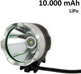 1200 lumen MTB/race LED koplamp CREE T6 USB aansluiting - EXTREEM veel licht -100 meter- met 10.000mAh LiPo Powerbank