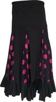 Spaanse Flamenco Rok - Zwart met Roze Stippen voor meisjes - Maat 6 - (104-110)