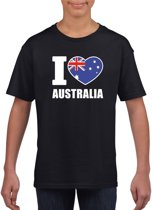 Zwart I love Australie supporter shirt kinderen - Australisch shirt jongens en meisjes M (134-140)