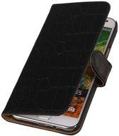 Samsung Galaxy E5 Hoesje Krokodil Bookstyle Zwart