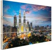 Kuala Lumpur skyline zonsondergang Hout 80x60 cm - Foto print op Hout (Wanddecoratie)