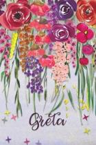 Greta: Personalized Lined Journal - Colorful Floral Waterfall (Customized Name Gifts)