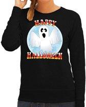 Halloween -  Happy Halloween spook verkleed sweater zwart voor dames - horror spook trui / kleding / kostuum M