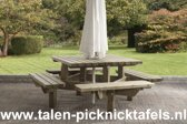 Van Talen - Picknicktafel vierkant - Vuren - 195 x 195 cm