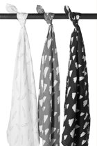 Meyco 3-pack hydrofiele swaddles - Clouds-Feathers-Clouds - grijs/zwart/wit