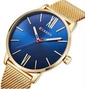 Curren - stijlvol heren horloge - analoog - mesh band - goudkleurig / donkerblauw - 42 mm - I-deLuxe verpakking