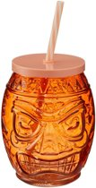 Tiki glazen drinkpotje/drinkglas met deksel 550 ml oranje