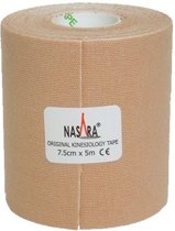 Nasara Kinesio tape - Beige | Huidvriendelijk | 7,5 cm | Extra breed