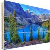 Kleurrijke omgeving in het Nationaal park Banff in Canada Vurenhout met planken 30x20 cm - klein - Foto print op Hout (Wanddecoratie)