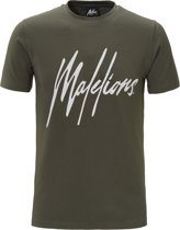 Malelions T-shirt Signature Army/white