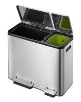EKO - EcoCasa Recycle Prullenbak - 30+15 l - Mat RVS