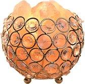 Gadgy® - Himalaya Zoutlamp in goudkleurig metalen mand met mooie kunststof diamanten – Dimbaar – E14 Lamp inbegrepen - 2 kg roze handgesneden rots kristallen - Nachtlamp– Tafellamp – 12x12 x11 cm.