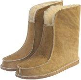 Schapenvacht pantoffels - Lamsvacht hoge pantoffels - Camel - Maat 44