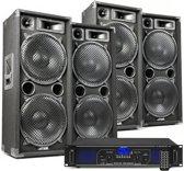 DJ geluidsinstallatie met Bluetooth - 4x MAX212 DJ luidsprekers + Bluetooth versterker combinatie - 5600W