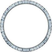 Marc Coblen - Zilverkleurige verwisselbare horlogering - 45mm - Vierkante stenen - Lichtblauw