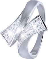 Lucardi - Zilveren ring mat/glans met zirkonia