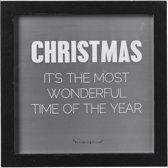 Bloomingville Kerst - Tekstbord - Christmas is the…' - Zwart - 25x25cm