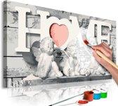 Doe-het-zelf op canvas schilderen - Engeltjes Home 80x40