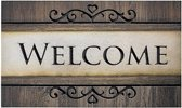 Schoonloopmat met print / Ecomaster Welcome hout Frame 033 / 45 cm x 75 cm / Welcome hout Frame 033