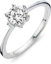 Silventi 943284392-56 Zilveren ring - ronde zirkonia 6 mm - maat 56 - zilverkleurig
