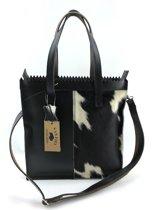 Koeienhuid shopper met lange hengsel zwart-wit Van Fiel/ Lina Leather